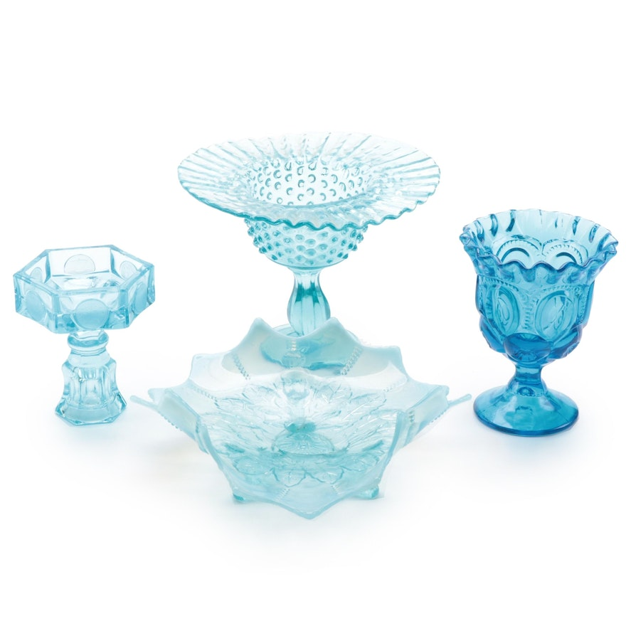 """Smith Glass """"Moon and Stars"""" Open Compote with Other Glass Table Accessories"""
