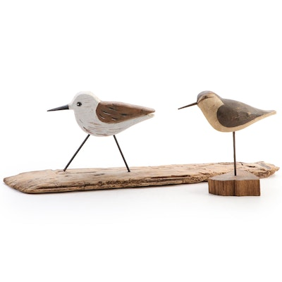 Hand-Crafted Wooden Plover and Sandpiper Sculptures