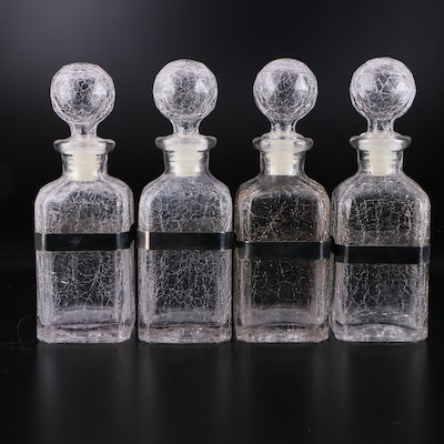 Crackle Glass and Silver Plate Decanters
