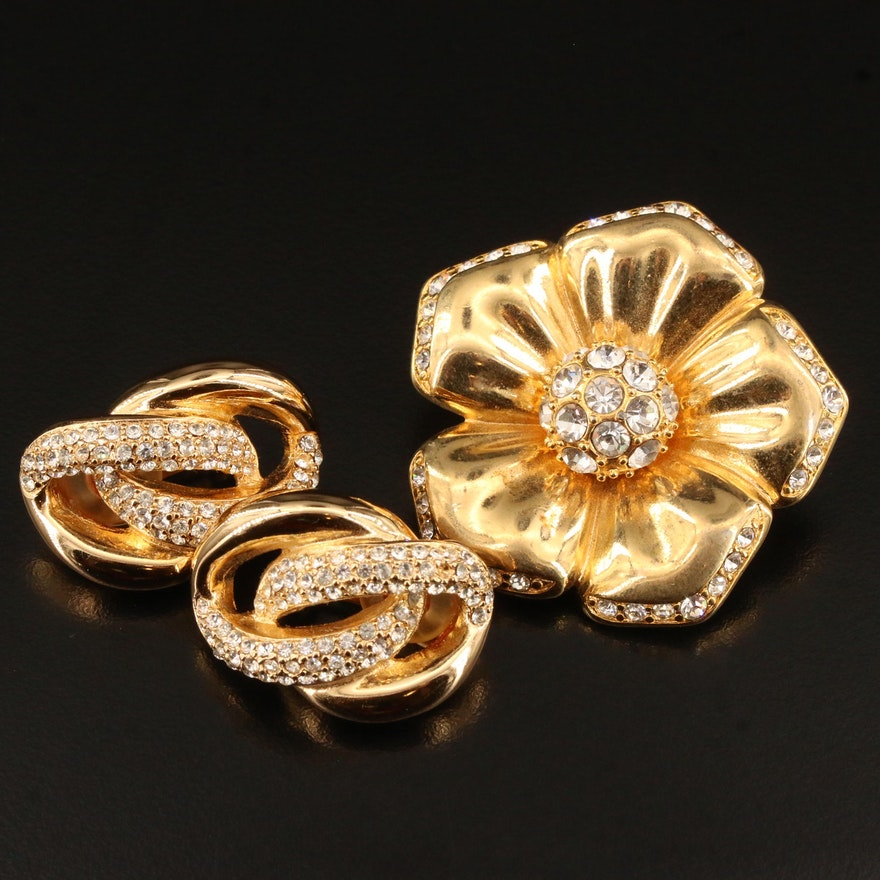 Nolan Miller Poppy Brooch and Christion Dior Clip-On Rhinestone Earrings