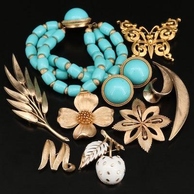 1960s Crown Trifari Enamel and Plastic Jewelry Selection