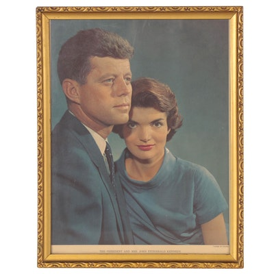 """Offset Lithograph Portrait """"The President and Mrs. John Fitzgerald Kennedy"""""""