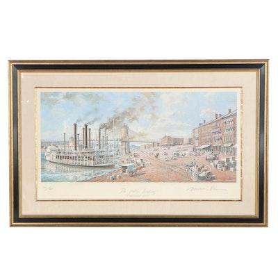 "Michael Blaser Offset Lithograph ""The Public Landing, Cincinnati, 1875"", 1991"