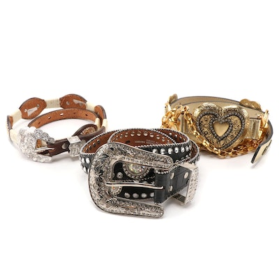 Studded and Embellished Leather and Faux Leather Belts