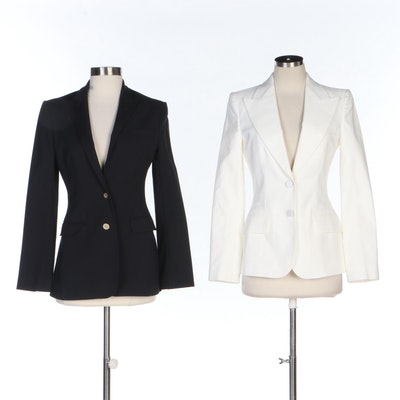 Dolce & Gabanna White Pique Cotton Blend and Tailored Black Suit Jackets