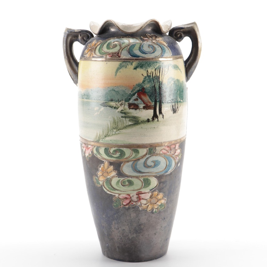 Hobbyist Hand-Painted Ceramic Scalloped Vase with Moriage Accents , Antique