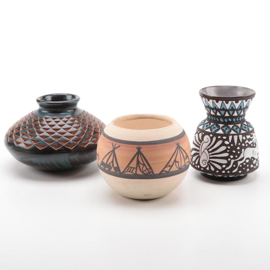 Neofitoy Keramik Enameled Pottery Vase with American Southwest Vases
