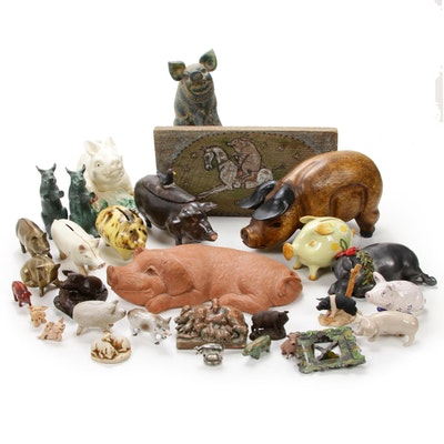 Passel of Painted and Metal Pig Figurines, and Piggy Bank