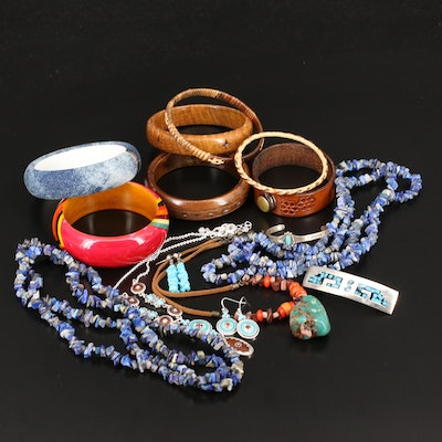 Jewelry Including Bangles, Inlaid Hair Barrette, Sterling and Lapis Lazuli
