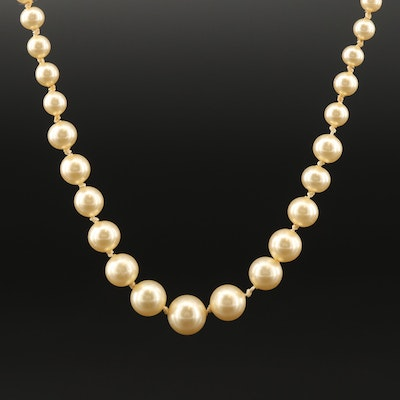 Knotted Pearl Graduated Necklace with Sterling Silver Clasp