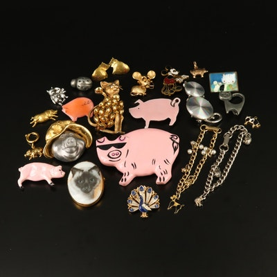 Animal Themed Jewelry Featuring 10K Pig Charm and Disney Mickey Mouse