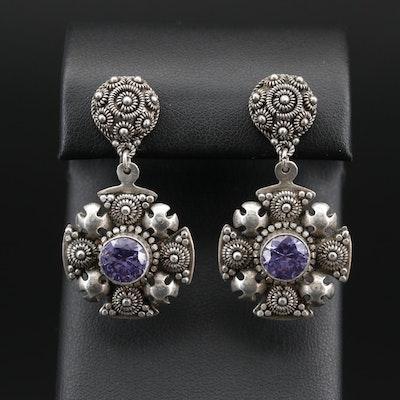 Sterling Silver Color Change Sapphire Jerusalem Cross Drop Earrings