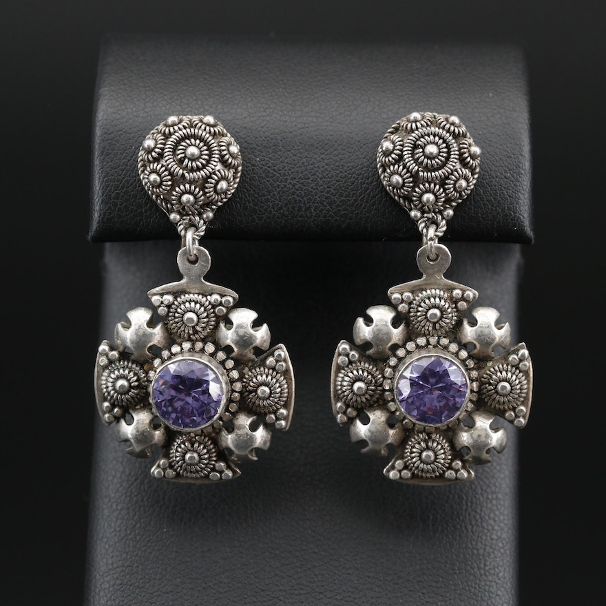 Sterling Silver Color Change Sapphire Jerusalem Cross Drop Earrings