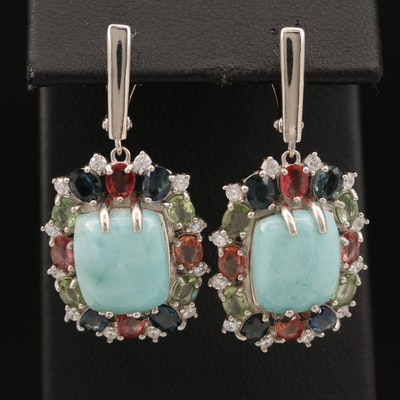 Sterling Silver Larimar, Sapphire and Cubic Zirconia Dangle Earrings