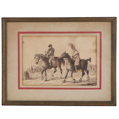Ink Drawing of Gentlemen on Horses, Early 20th Century