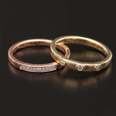 10K Yellow and Rose Gold Diamond Rings