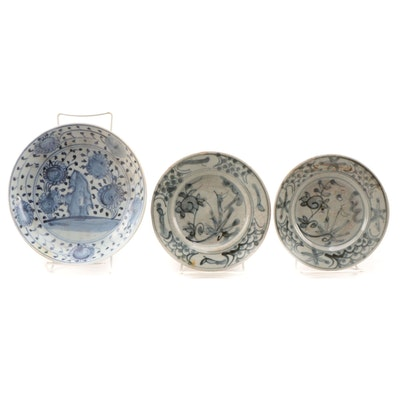 Chinese Blue and White Porcelain Plates and Bowl, Ming Dynasty