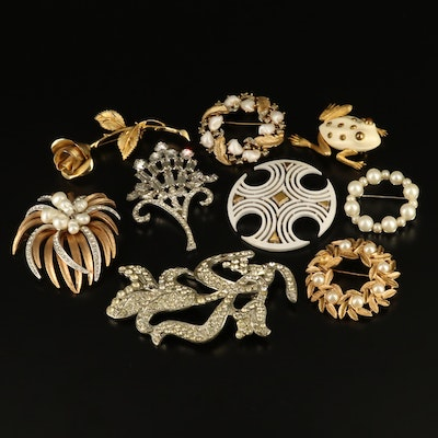 Vintage Rhinestone Brooches Featuring Crown Trifari and Marvella