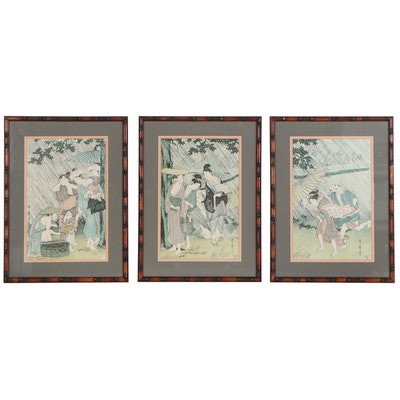 """Offset Lithographs After Kitagawa Utamaro Triptych """"Evening Squall"""""""