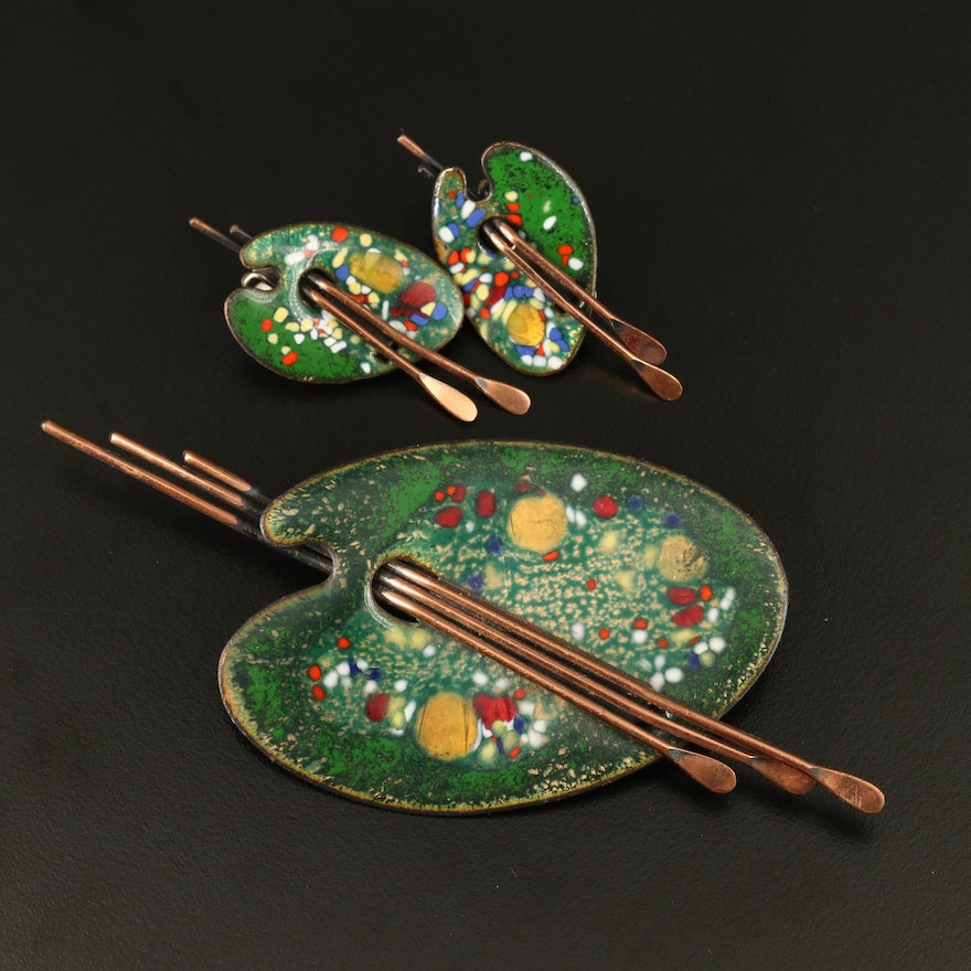 Vintage Matisse Renoir Copper and Enamel Artist Palette Brooch and Earrings
