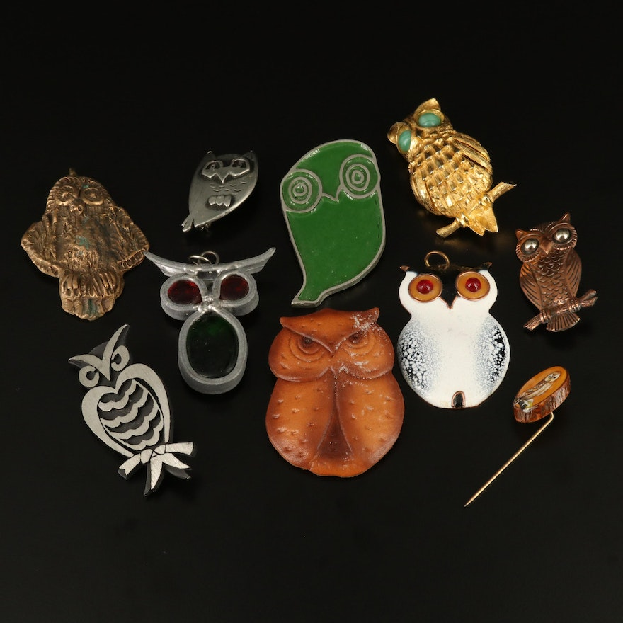 Owl Motif Jewelry Featuring Bell Trading Post and DeNicola
