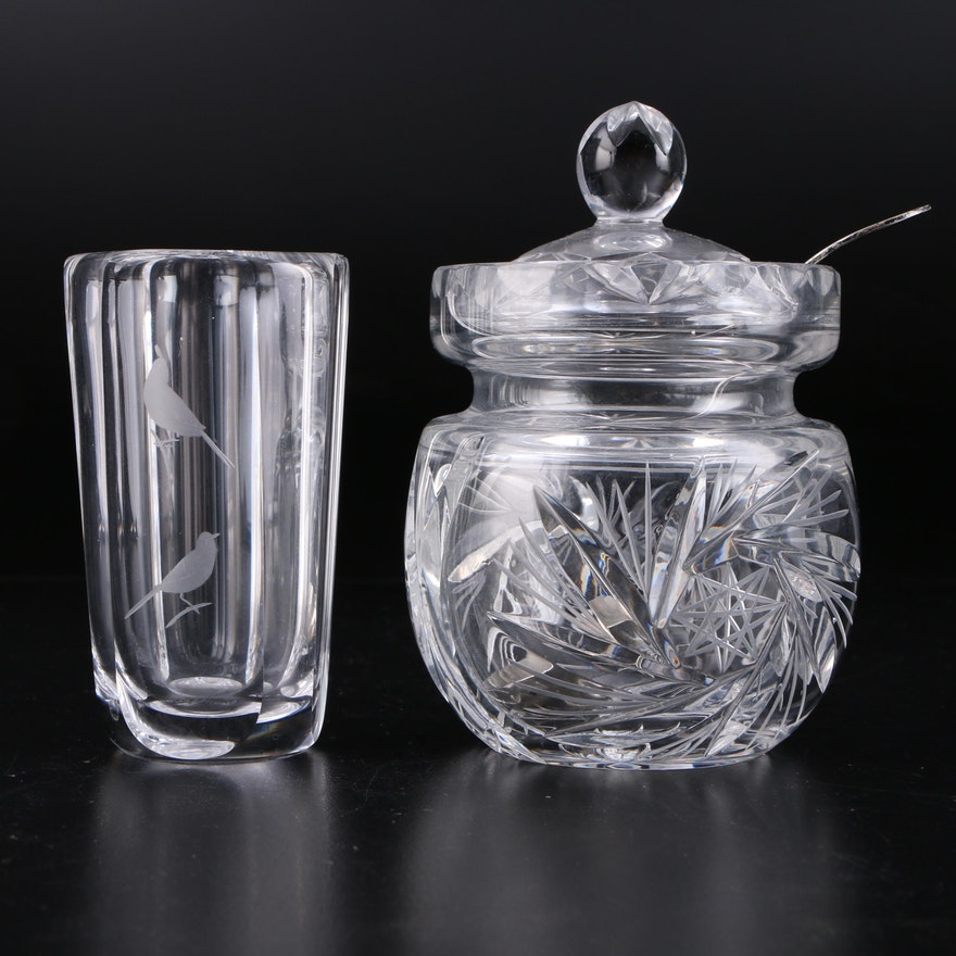 Orrefors Crystal Mustard Pot, Sterling Silver Ladle and Crystal Bud Vase