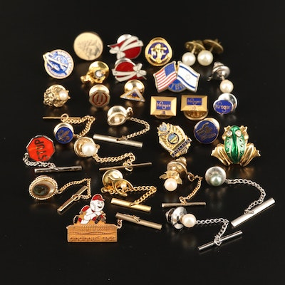 Assorted Tie Tacks and Lapel Pins Including Cincinnati Red