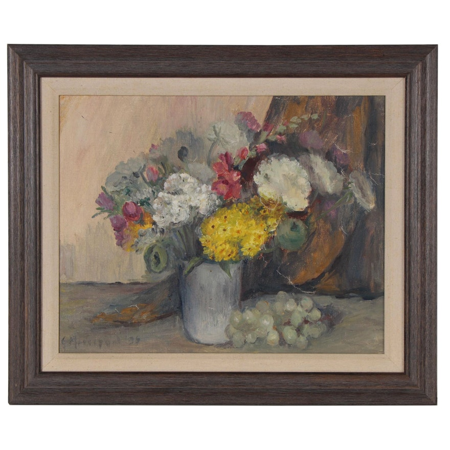 Floral Still Life Oil Painting, 1935