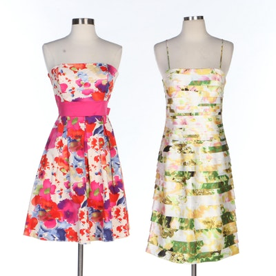 APNY and JS Collections Floral Print Strapless and Sleeveless Dresses
