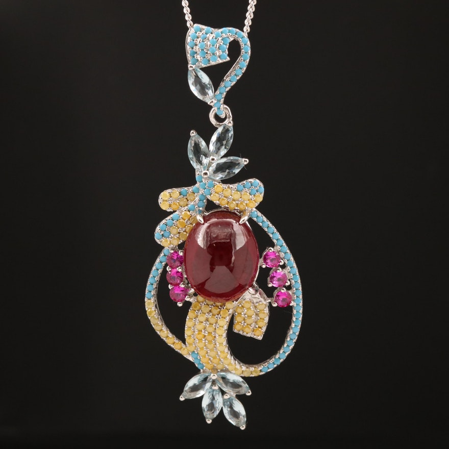 Sterling Corundum, Ruby and Cubic Zirconia Necklace