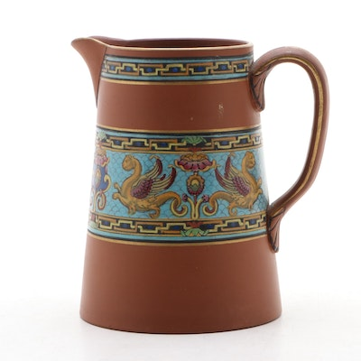 Hand-Painted and Enameled Ceramic Pitcher