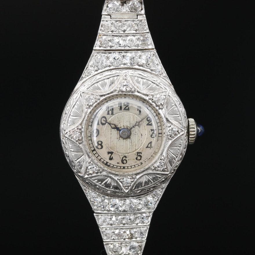 Platinum 1.30 CTW Diamond French George's Meyer/Rebberg Stem Wind Wristwatch
