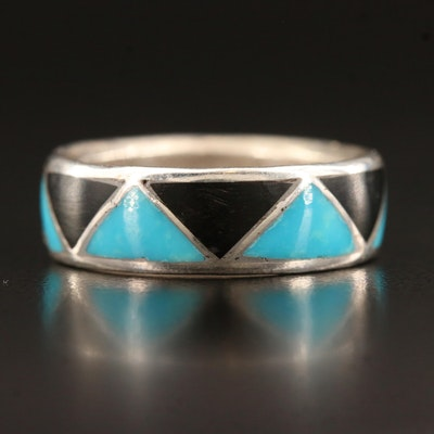 900 Silver Band with Inlay Pattern