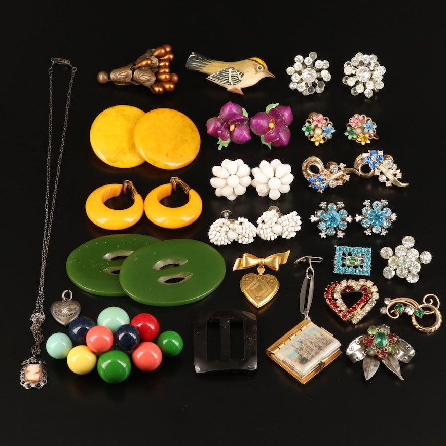 Vintage Sterling Silver, Bakelite, and 800 Silver Jewelry