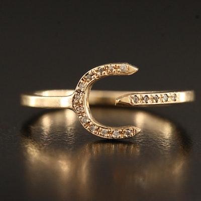 Minimalist 14K Diamond Wrap Around Ring