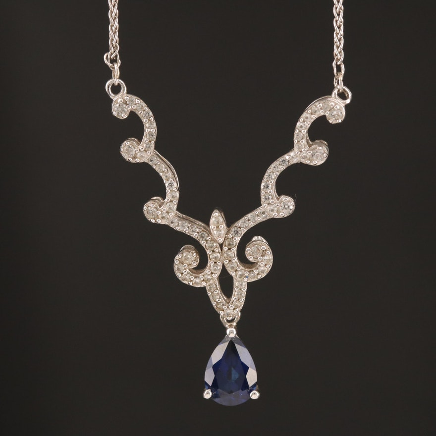 Sterling Sapphire and White Sapphire Necklace