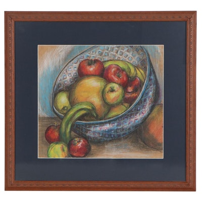Pastel Drawing of Still Life with Fruit, Late 20th Century