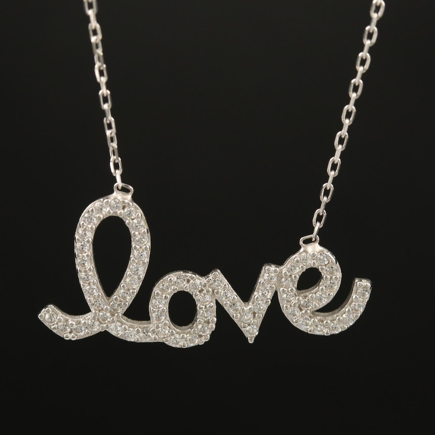 """Sterling Cubic Zirconia """"Love"""" Necklace"""