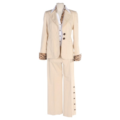 Escada Tan Stretch Button Pantsuit and White Blouse with Contrast Animal Print