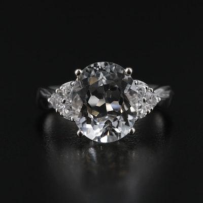 14K White Gold White Topaz Ring with 3.80 CT Center Stone