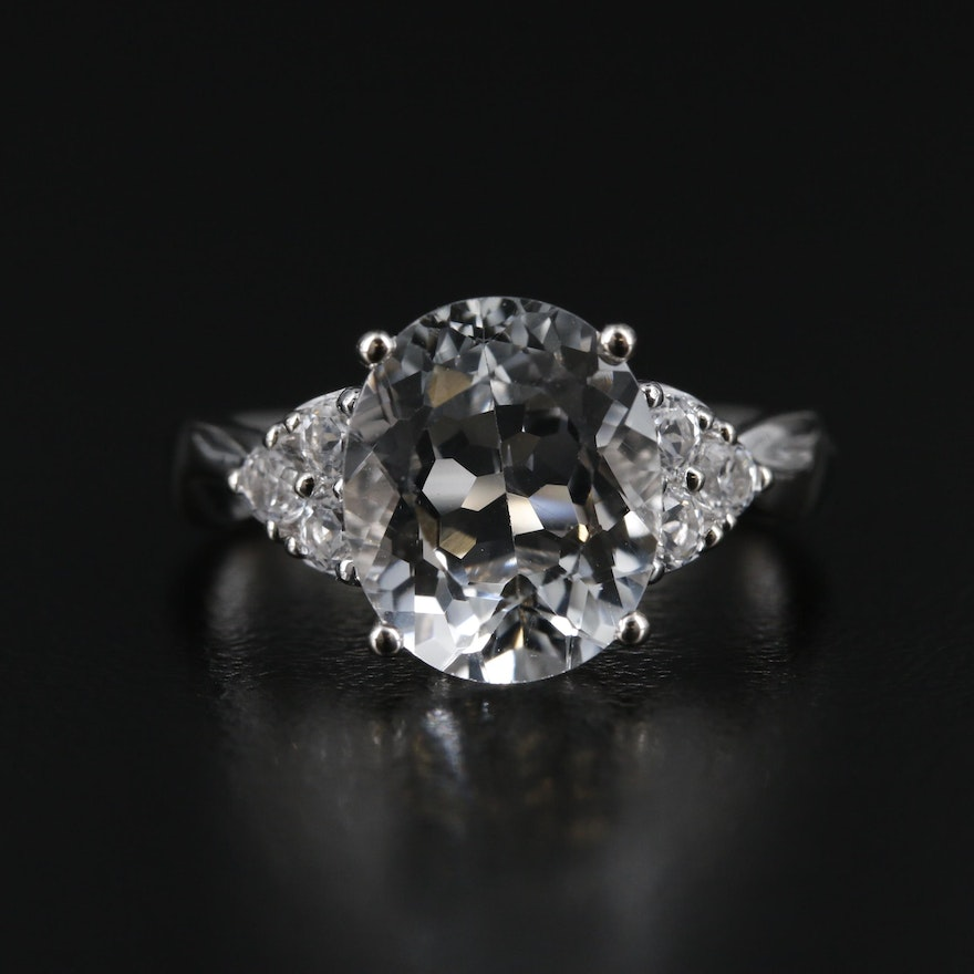 14K Gold White Topaz Ring with 3.80 CT Center Stone