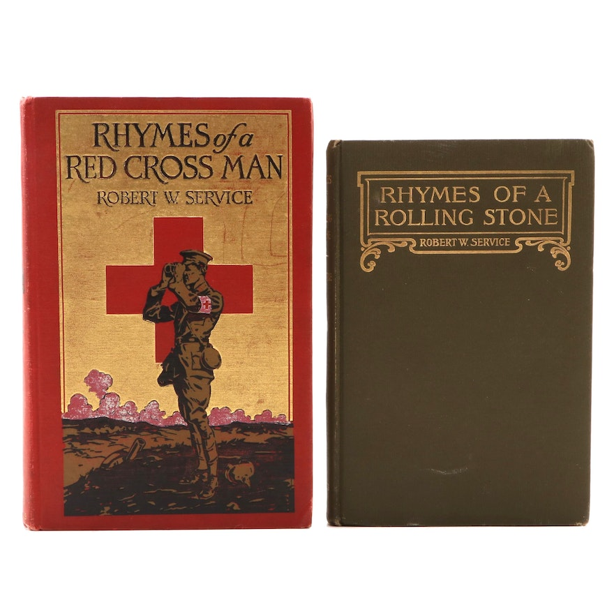 """""""Rhymes of a Rolling Stone"""" and """"Rhymes of a Red Cross Man"""" by Robert W. Service"""