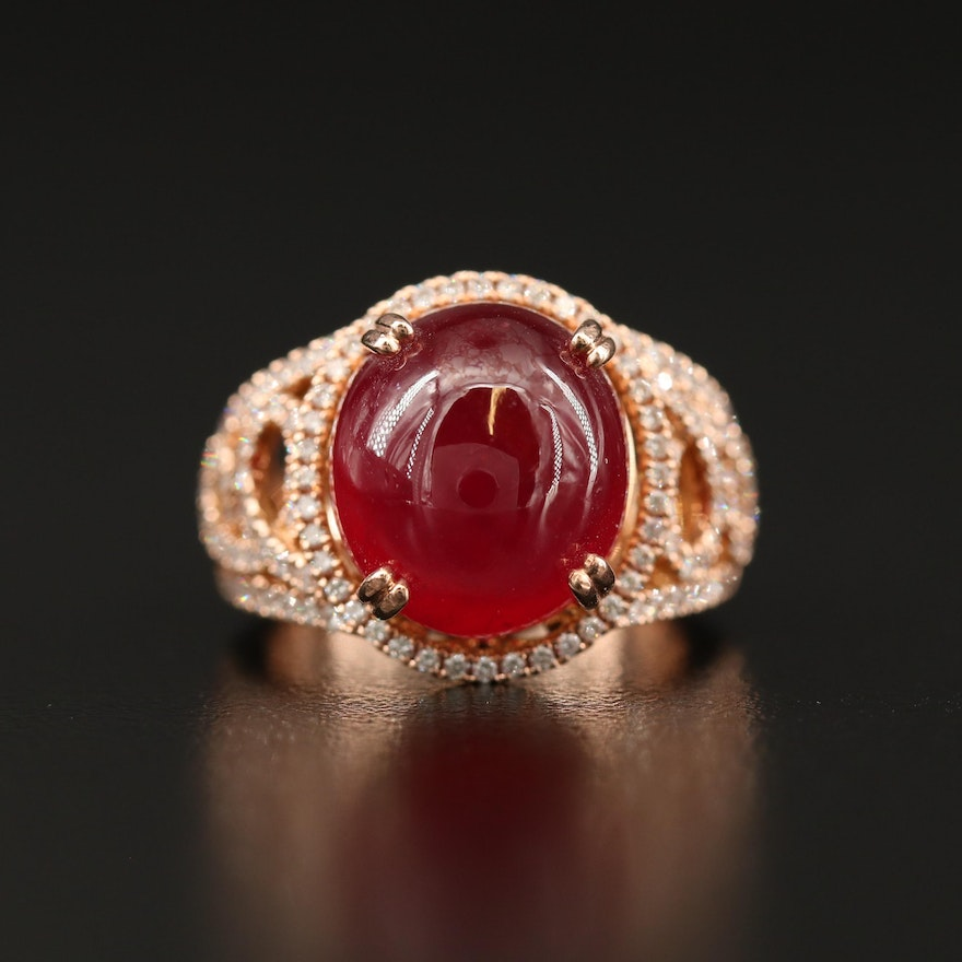 14K Rose Gold Ruby and Diamond Openwork Ring
