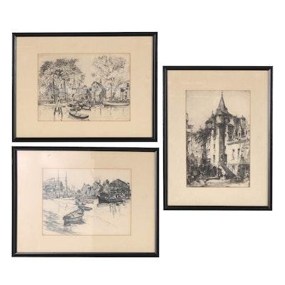 Rotogravures of Harbor Scenes and European Architecture