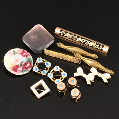 Antique and Vintag Lingerie and Lapel Pins with Shirt Studs