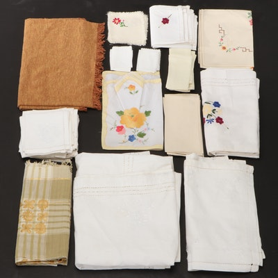 Linen, Cut Work, and  Hand Stitched Embroidered Napkins, Doilies and Tablecloths