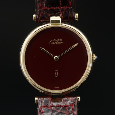 1987 Cartier Must de Cartier Must de Vendome Vermeil Quartz Wristwatch