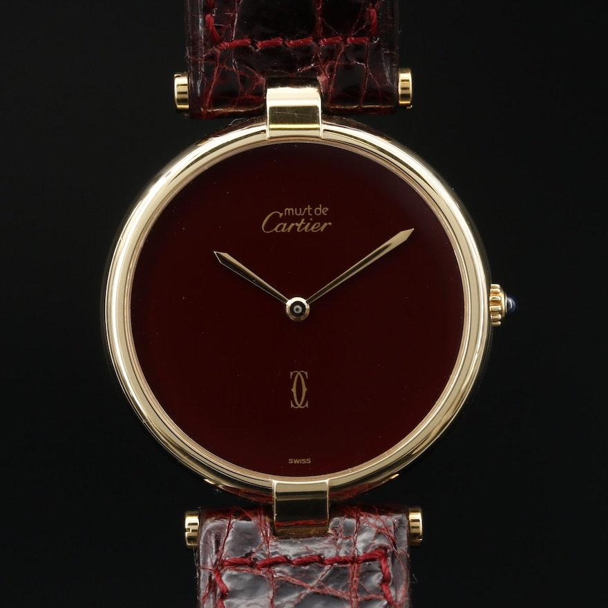 1987 Cartier Must de Cartier Must de Vendome Vermeil Quartz Wristwatch