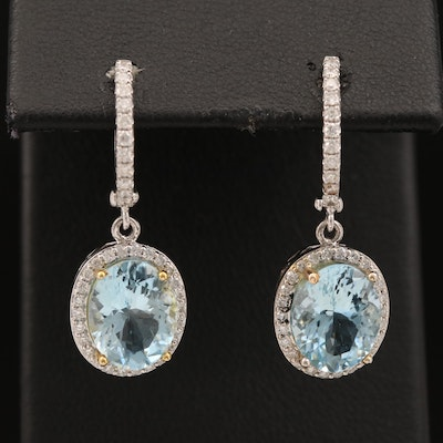 14K Aquamarine and Diamond Dangle Earrings