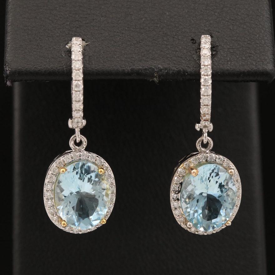 14K Aquamarine and Diamond Dangle Earrings